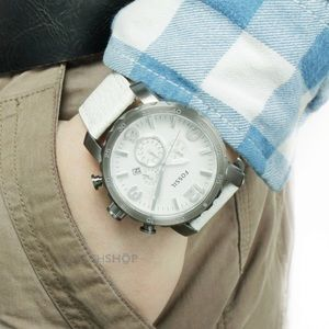 White Leather Fossil JR1423 Watch